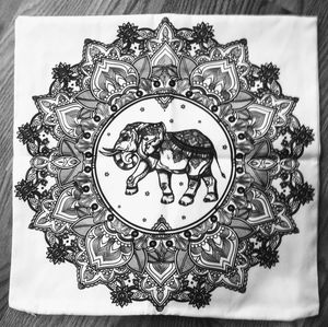 Throw pillow cover with elephant